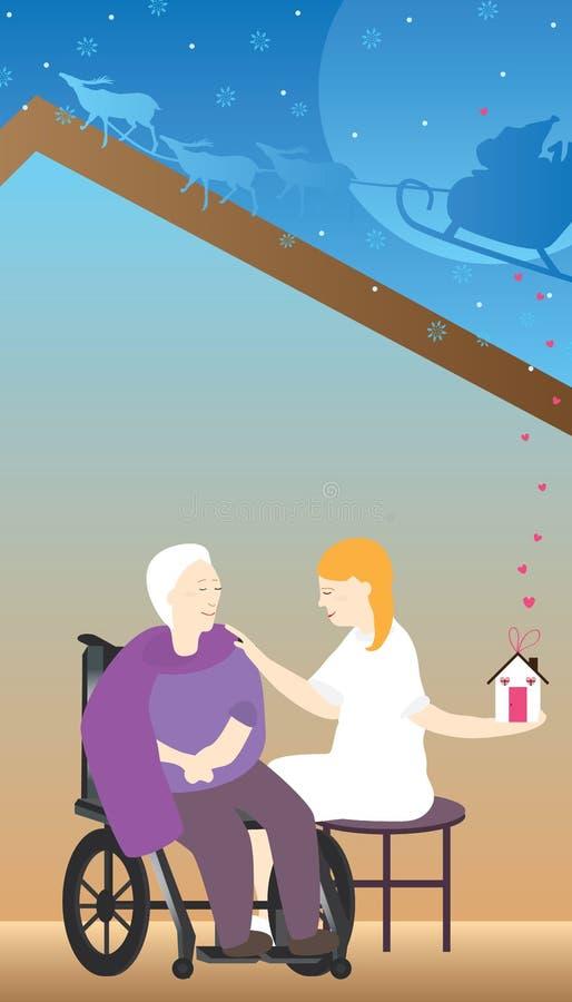 Den snälla sjuksköterskan kommer med varmt hem- gammalt stock illustrationer