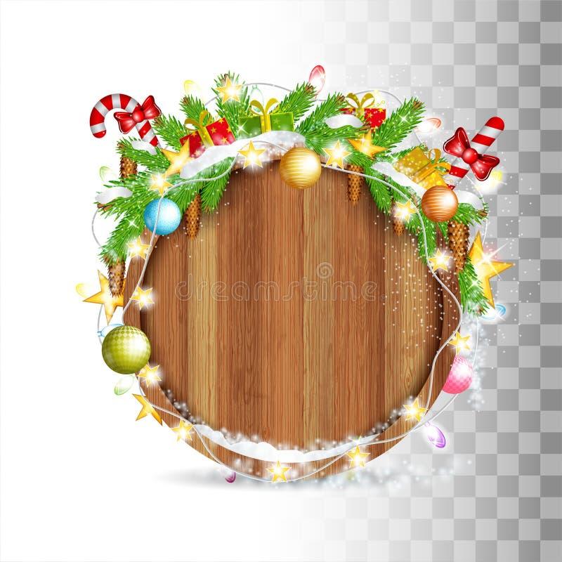 Den snöig granträdfilialen med kottar, bollar, godisen och gerland lägger överst av gränsen för runt trä Festmåltid av jul stock illustrationer