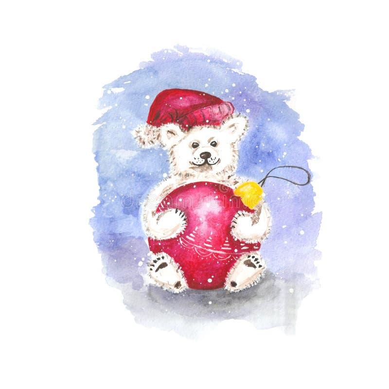 den snabba vattenfärgen skissar en vit björn i en röd hatt med en pompom rymmer röd jul som bollen på en blå bakgrund i dess tafs royaltyfri illustrationer