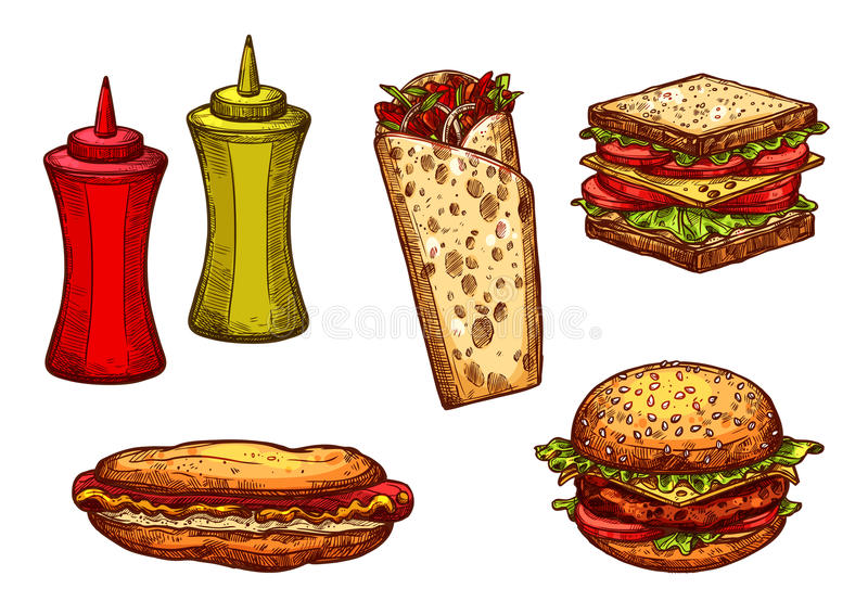 Den snabbmathamburgaren och smörgåsen skissar uppsättningen vektor illustrationer