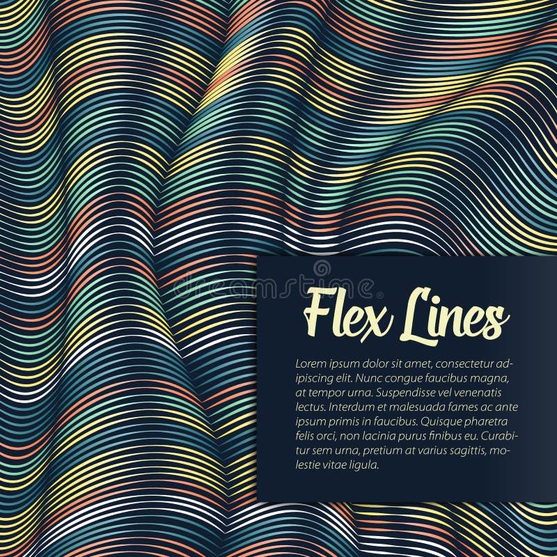 Den snedvred vektorn fodrar bakgrund Böjliga band som vrids som silke som bildar volymetriska veck vektor illustrationer