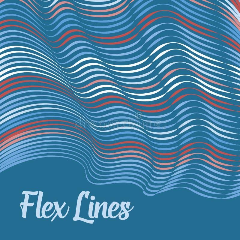 Den snedvred vektorn fodrar bakgrund Böjliga band som vrids som silke som bildar volymetriska veck royaltyfri illustrationer