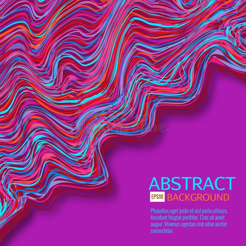 Den snedvred vektorn fodrar bakgrund Böjliga band som vrids som silke som bildar volymetriska veck Färgrik variabel bredd vektor illustrationer