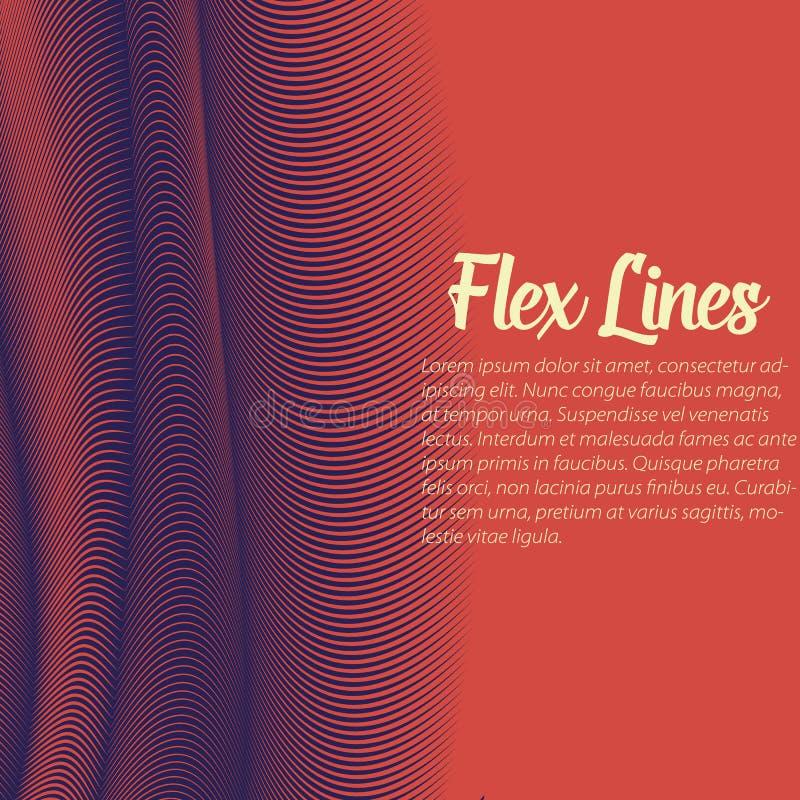 Den snedvred vektorn fodrar bakgrund Böjliga band som vrids som silke som bildar volymetriska veck färgrika band vektor illustrationer