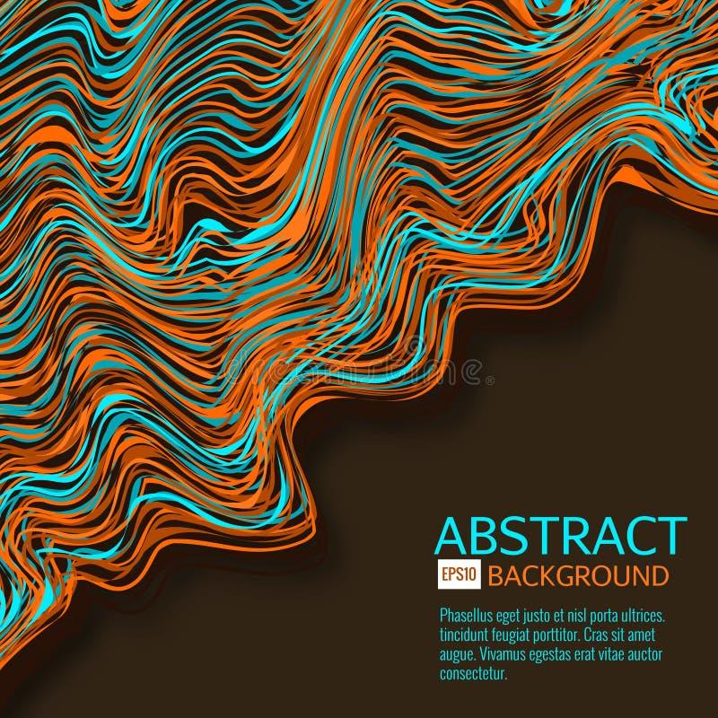 Den snedvred vektorn fodrar bakgrund Böjliga band som vrids som silke som bildar volymetriska veck Färgrika band med vektor illustrationer
