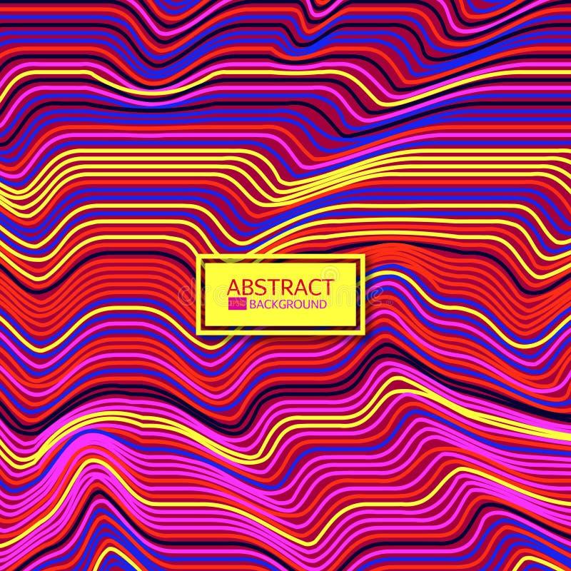 Den snedvred vektorn fodrar bakgrund Färgrikt abstrakt begrepp gör randig vektorillustrationen stock illustrationer