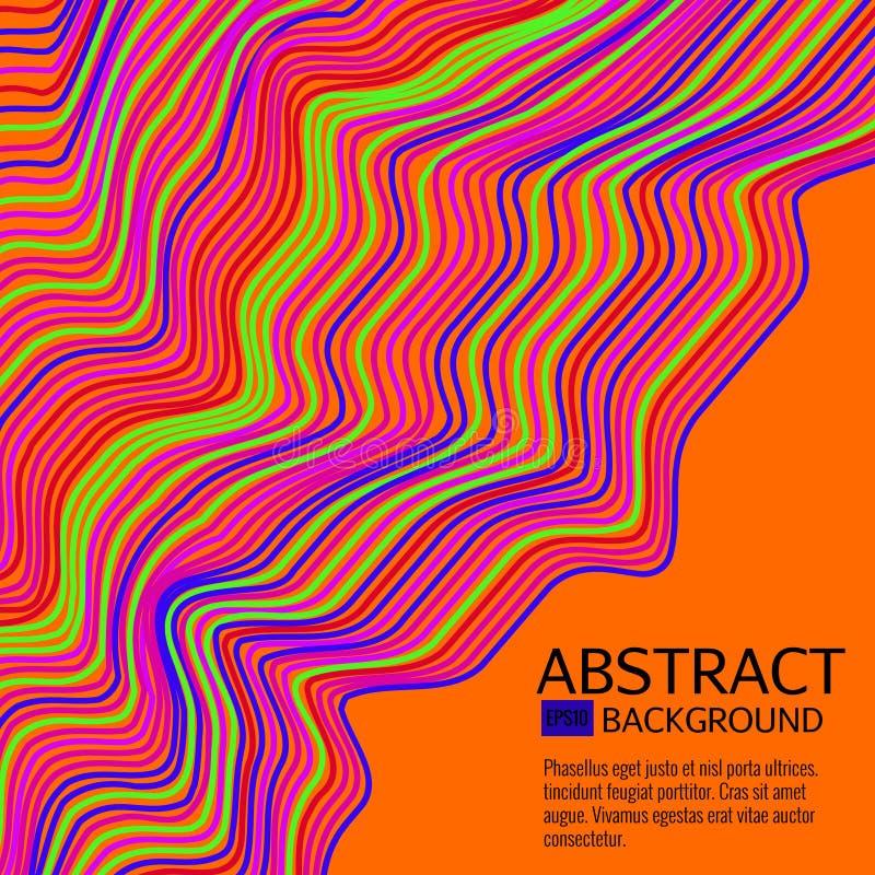 Den snedvred vektorn fodrar bakgrund Färgrikt abstrakt begrepp gör randig vektorillustrationen royaltyfri illustrationer