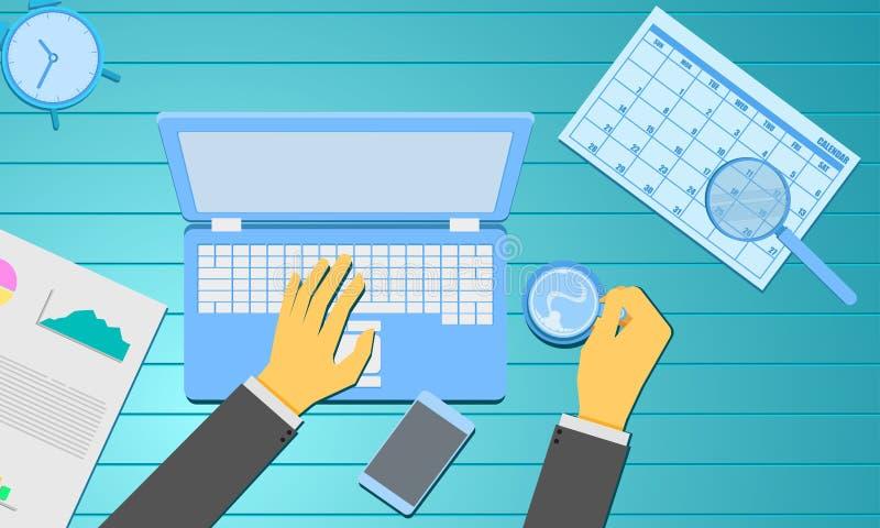Den sociala massmedialedninghanden som skriver information om tecken och rymmer kaffediagram, anmäler kalendern Affärsmarknadsför vektor illustrationer
