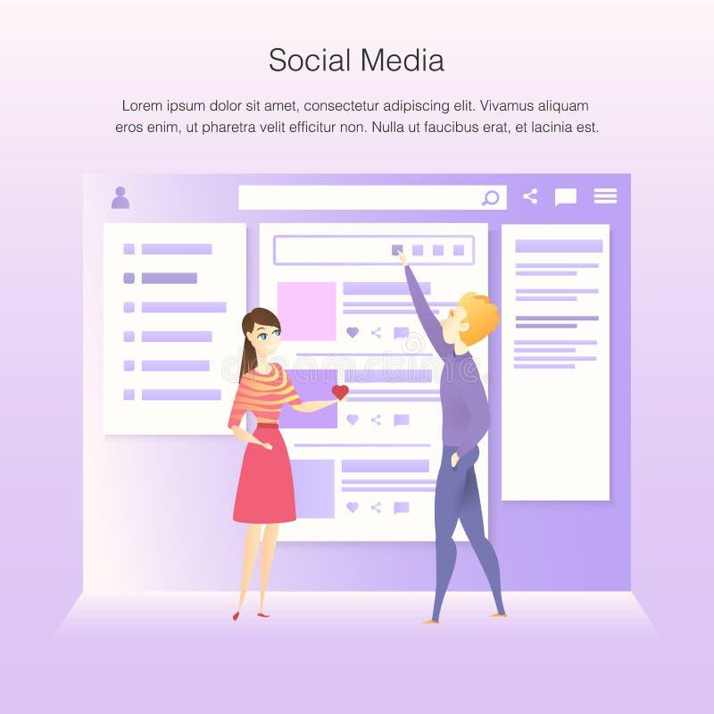 Den sociala nätverksmanöverenheten Wireframe framkallar process stock illustrationer