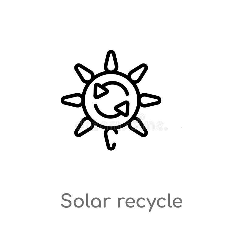 den sol- översikten återanvänder vektorsymbolen isolerad svart enkel linje beståndsdelillustration från användargränssnittbegrepp royaltyfri illustrationer