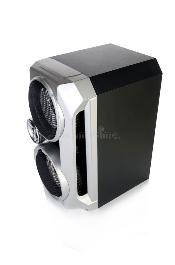 Den solida ljudsignal högtalaren som isoleras på vit bakgrund arkivfoton