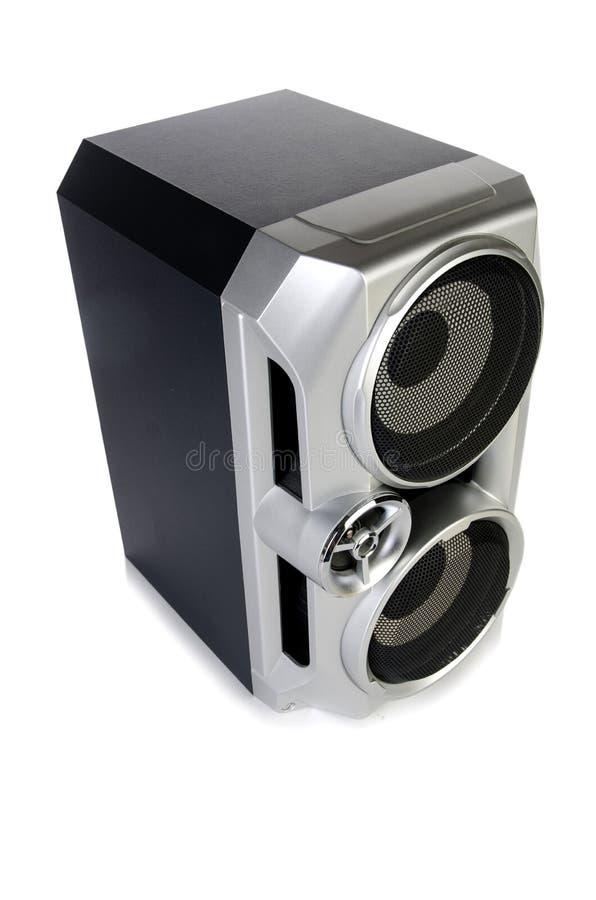 Den solida ljudsignal högtalaren som isoleras på vit bakgrund arkivfoto