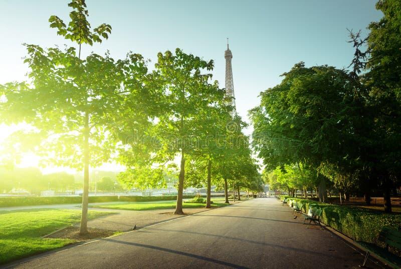 Den soliga morgonen och Eiffel står hög, Paris arkivbilder