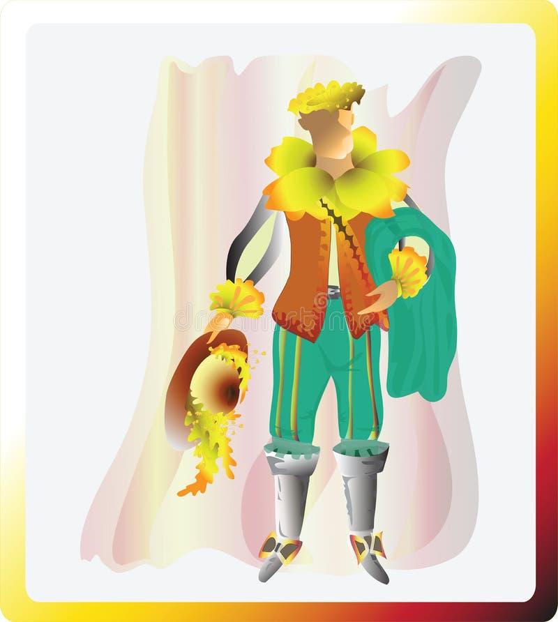 Den soliga påskliljan Narcissistisk musketör också vektor för coreldrawillustration stock illustrationer