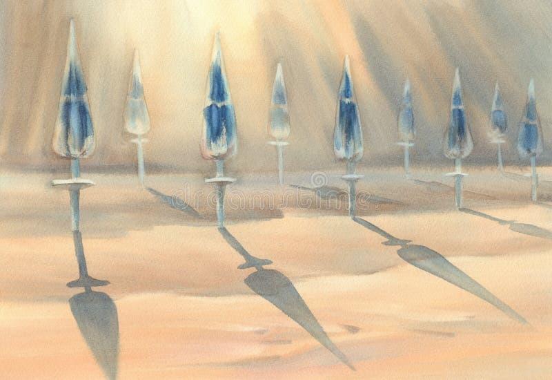 Den soliga stranden med paraplyvattenfärgen royaltyfri illustrationer