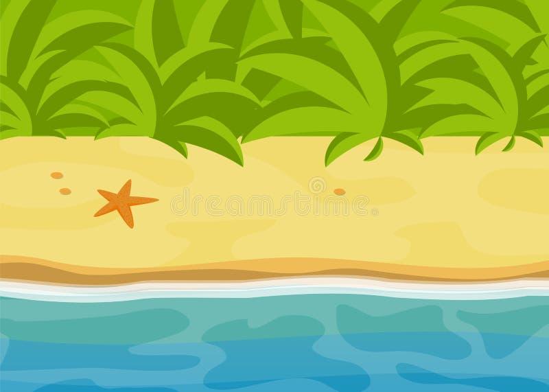 Den soliga tropiska stranden, det ljusa vändkretsdjungellandskapet, den plant vektorillustrationen för havet, sand och vatten kop royaltyfri bild