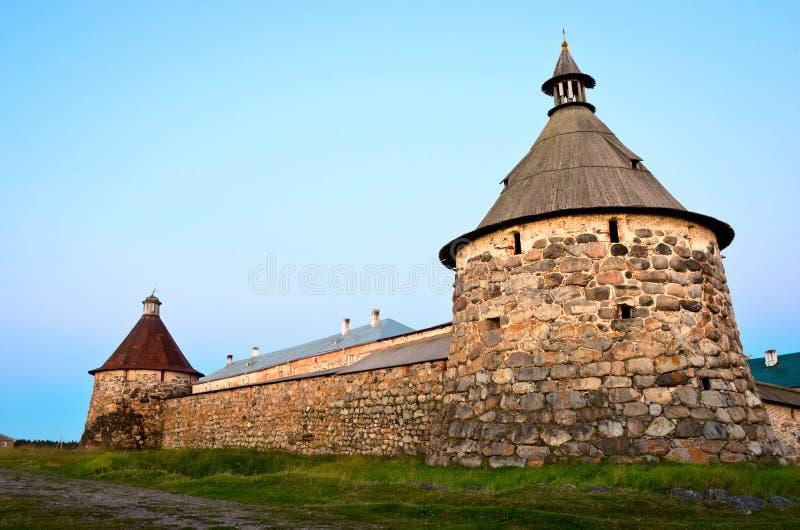 Den Solovetsky kloster på de Solovetsky öarna, Ryssland arkivfoto