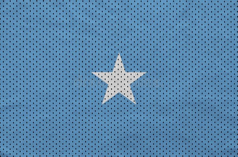 Den Somalia flaggan skrivev ut på ett tyg för ingrepp för polyesternylonsportswear royaltyfria foton