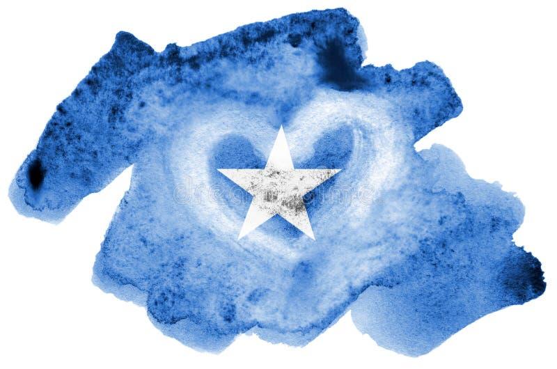 Den Somalia flaggan visas i vätskevattenfärgstil som isoleras på vit bakgrund vektor illustrationer