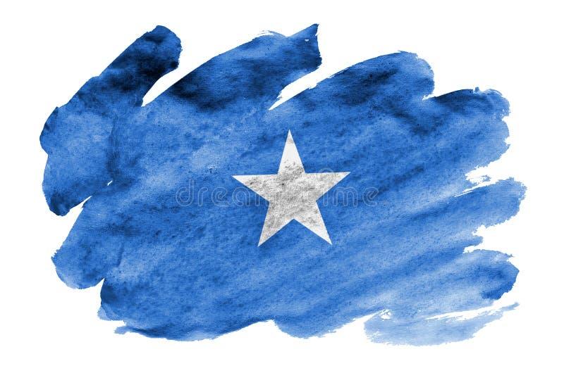 Den Somalia flaggan visas i vätskevattenfärgstil som isoleras på vit bakgrund royaltyfri illustrationer