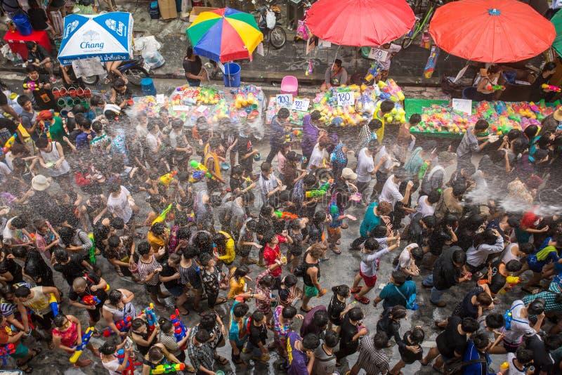 Den Songkran festivalen i Bangkok, Thailand royaltyfria foton