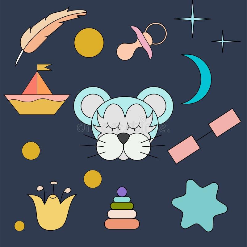 Den sova tigern Framsida isolerat djur för garnering Teckning för barn` s Delikata färger royaltyfri illustrationer