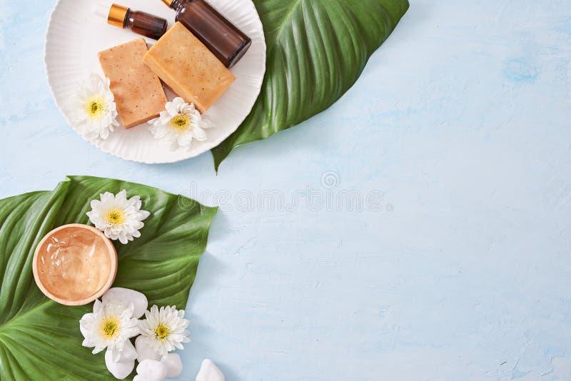Den Spa inställningen med skönhetsmedelkräm, stelnar, salta för bad och ormbunkesidor royaltyfria foton