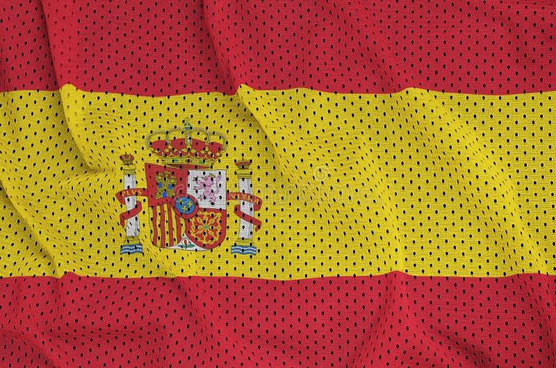 Den Spanien flaggan skrivev ut på ett tyg för ingrepp för polyesternylonsportswear w royaltyfri fotografi