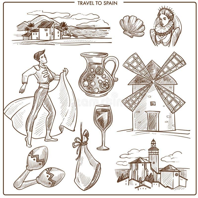 Den Spanien loppsymboler och vektorn skissar gränsmärken vektor illustrationer