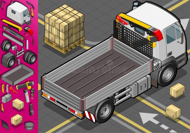 Den isometriska behållaren åker lastbil i baksida beskådar vektor illustrationer