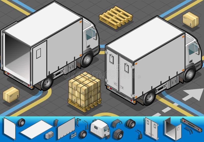 Det isometriska behållarekylskåp åker lastbil i baksida beskådar vektor illustrationer