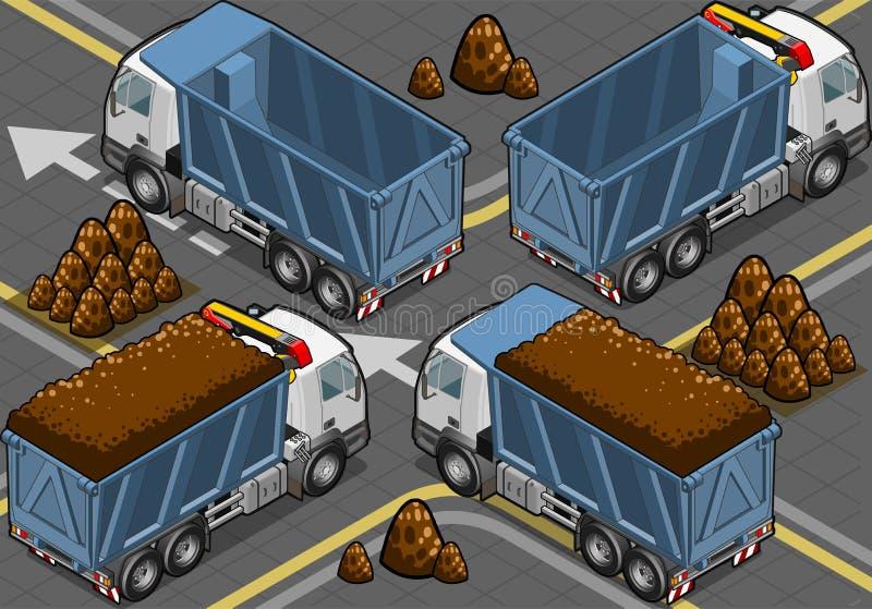 Isometriska behållare åker lastbil i baksida beskådar royaltyfri illustrationer