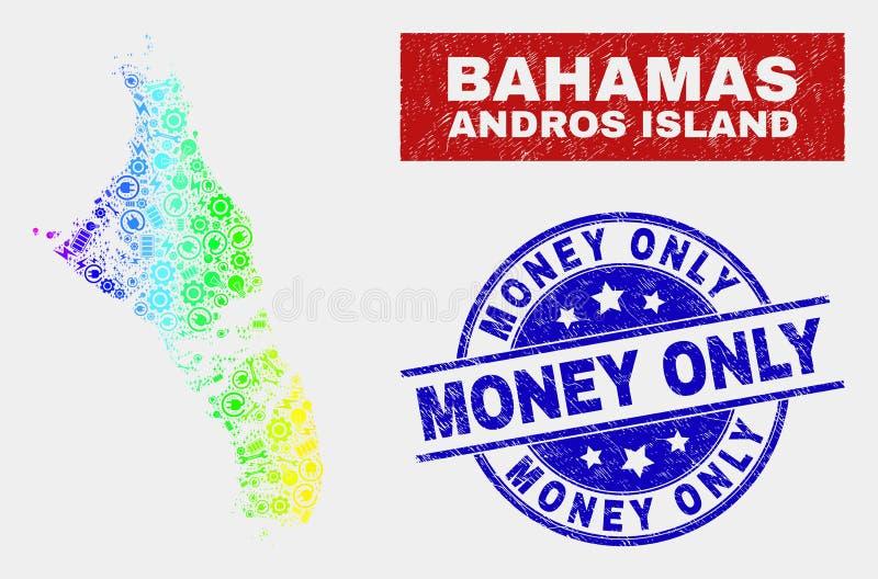 Den spektrumproduktivitetsAndros ön av den Bahamas översikten och nödlägepengar stämplar endast vektor illustrationer