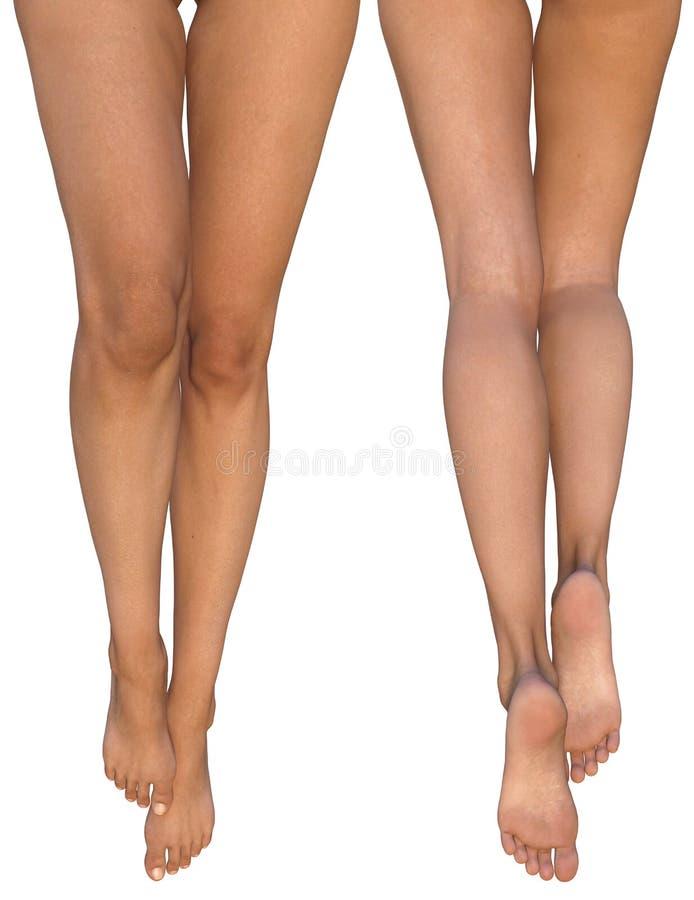 Den spensliga kvinnlign lägger benen på ryggen med sträckt ut fot - främre och bakre sikter royaltyfri illustrationer