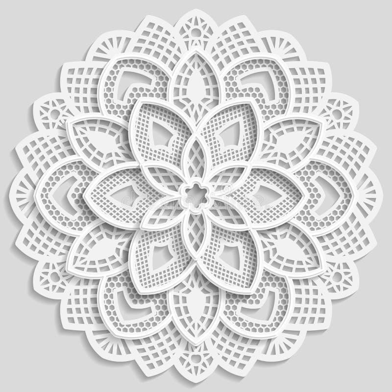 Den spets- pappers- doilyen, den dekorativa blomman, den dekorativa snöflingan, spets- mandala, snör åt modellen, den arabiska pr vektor illustrationer