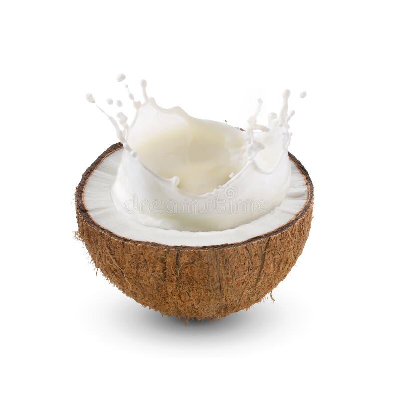 Den spruckna halvan av tropisk frukt, kokosnöt med mjölkar färgstänk på whit royaltyfri fotografi