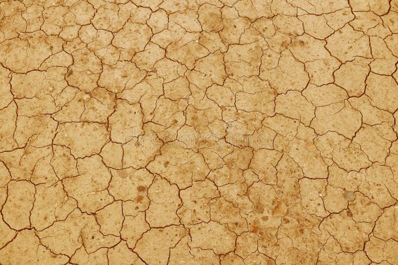 Den spruckna torkade jorden är gul En öken utan vatten Ointressant slipat Törstat för fuktighet på ett livlöst utrymme Ekologisk  arkivfoto
