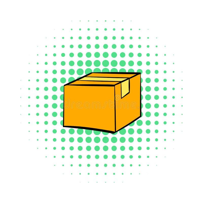 Den stängda kartongen som tejpas upp symbolen, komiker utformar vektor illustrationer