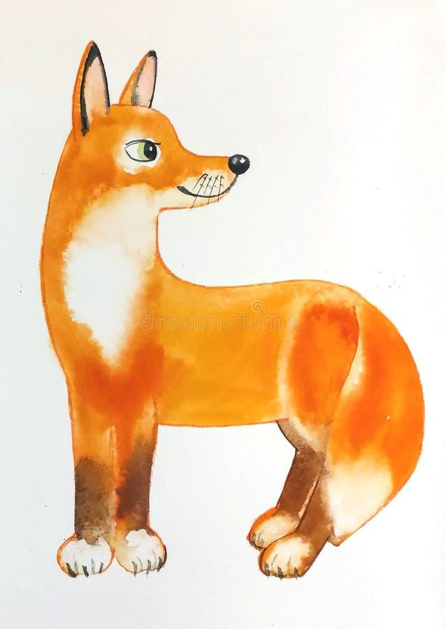 Den stådda röda päls- räven vände omkring och stack upp hans öron royaltyfri bild