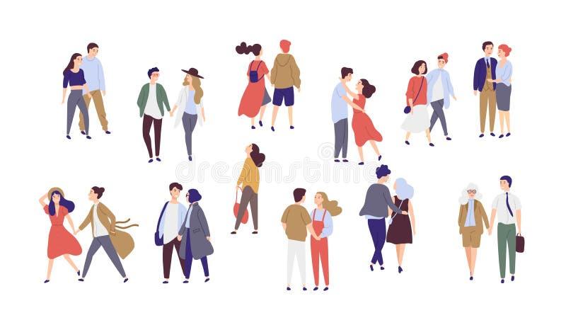 Den stående ensamma enkla flickan som omges av lycklig romantiker, kopplar ihop att gå tillsammans eller parar av män och kvinnor stock illustrationer