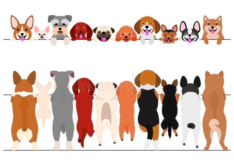 Den stående lilla hundkapplöpningen beklär och drar tillbaka gränsuppsättningen stock illustrationer