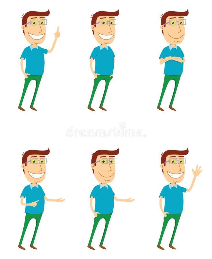 Den stående mannen med olikt poserar vektor illustrationer