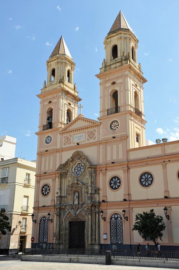 Den St Anthony kyrkan, Cadiz, Andalusia, Spanien fotografering för bildbyråer