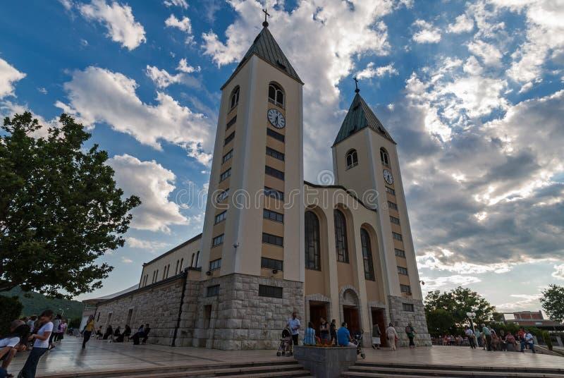 Den St James kyrkan i Medjugorje, Bosnien och Hercegovina arkivfoto