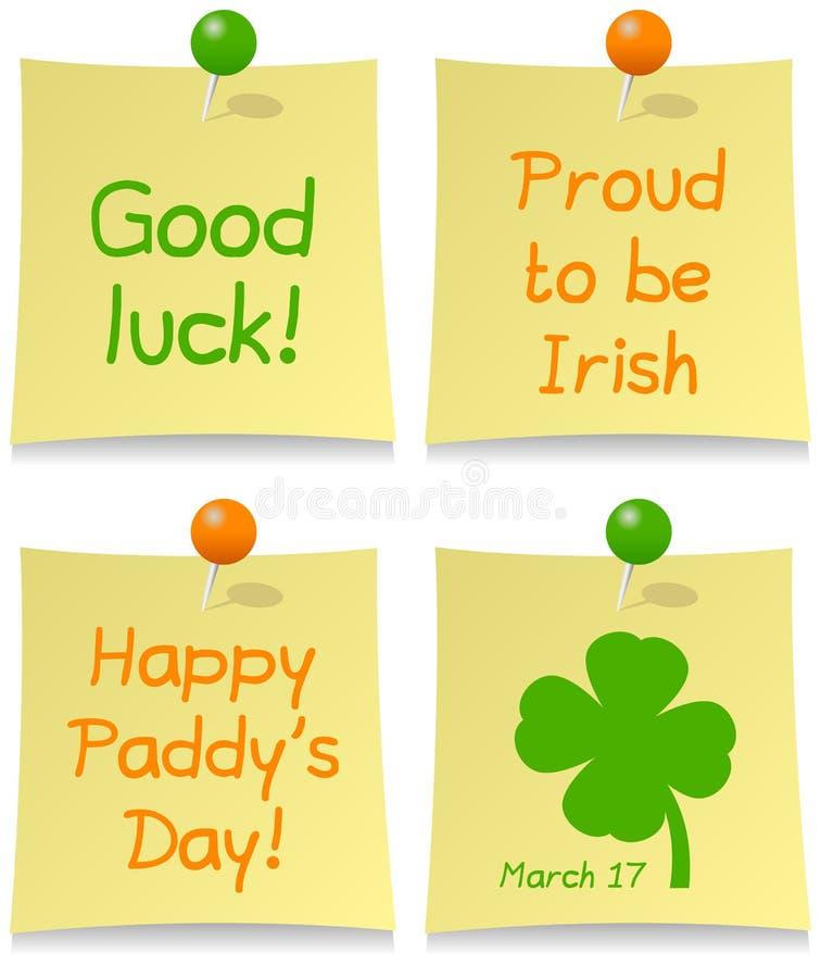 Den St Patrick s dagen postar det som är fastställdt vektor illustrationer