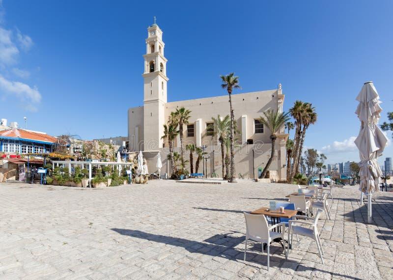 Den St Peters kyrkan i gamla Jaffa i Tel Aviv arkivfoton
