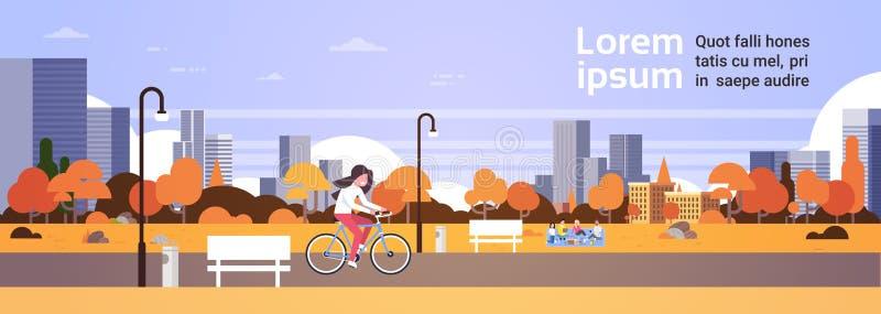 Den stads- hösten parkerar utomhus kvinnan som cyklar för picknickgatan för folk lägenheten för banret för det avslappnande för l royaltyfri illustrationer
