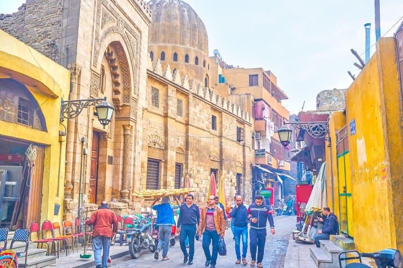 Den stads- platsen i den gamla Kairo, Egypten royaltyfria foton