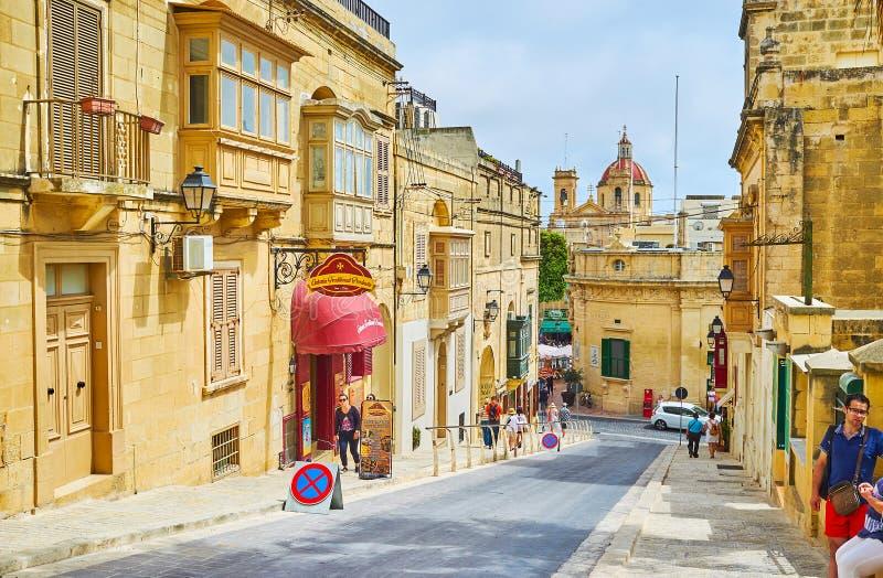 Den stads- platsen i Victoria, Gozo, Malta arkivbilder