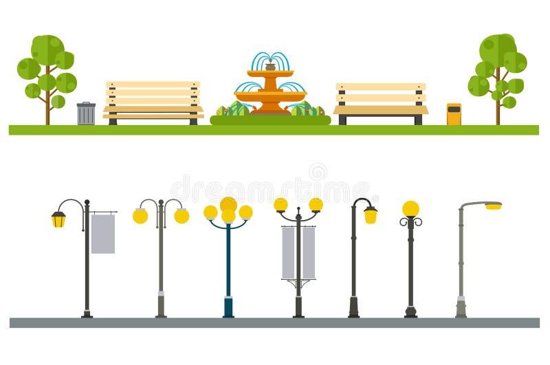 Den stads- utomhus- dekoren, beståndsdelar parkerar och gränder, gator och sidan stock illustrationer